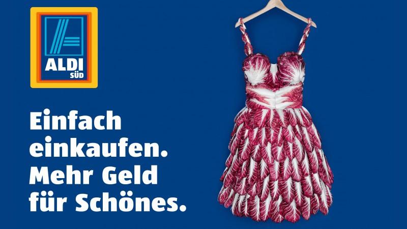 Motiv Kleid aus Radicchio - Mehr Geld für Schönes - Kampagne Einfach Einkaufen - Aldi Süd