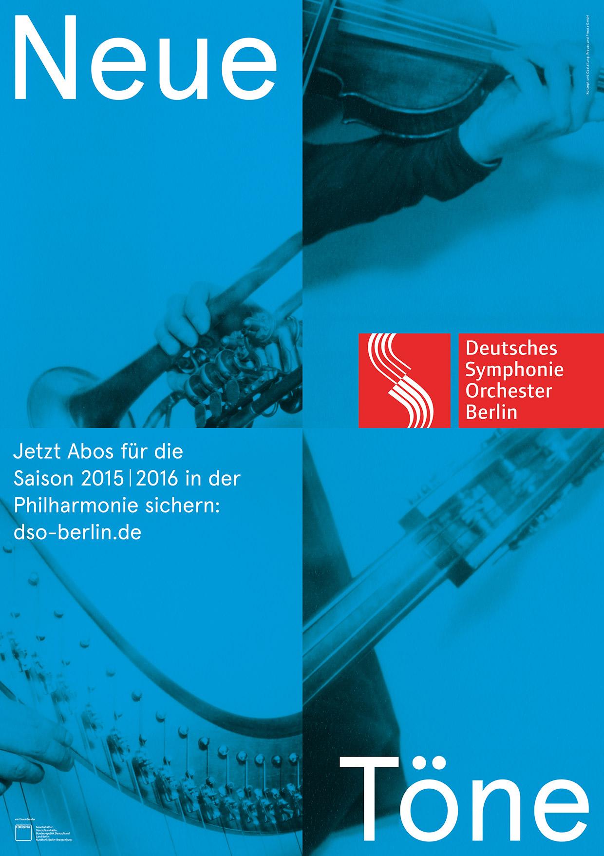 Neue Töne - Aboplakat des Deutschen Symphonie Orchesters Berlin - Saison 2015-2016 - Blau