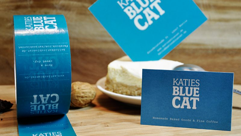 Klebeband, Visitenkarte und Postkarte Katies Blue Cat