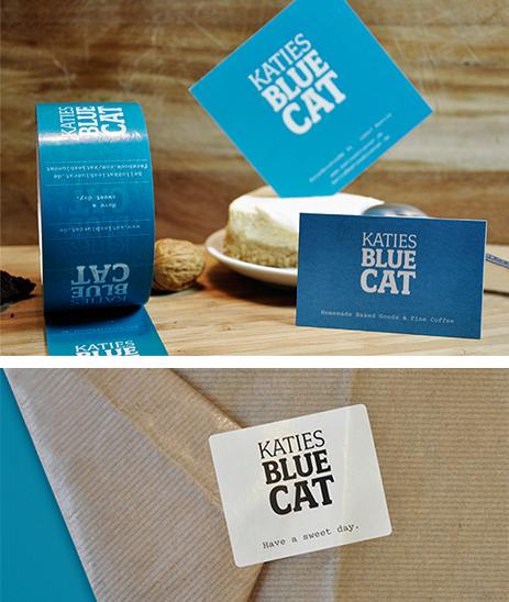 Klebeband, Visitenkarte, Postkarte und Verpackung Katies Blue Cat