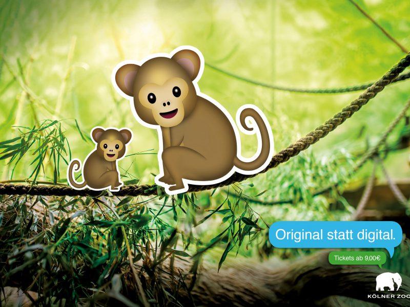 Affen-Emoticons im echten Umfeld