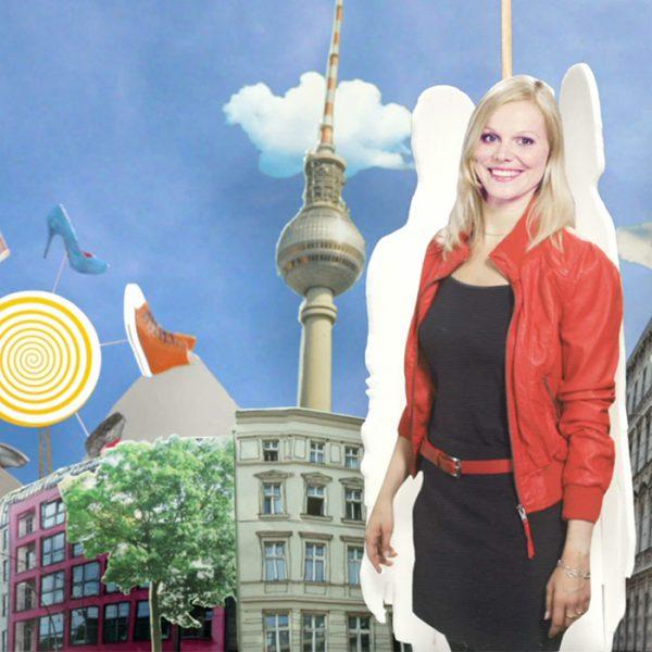 Collage: Schuhe, Fernseheturm, Gebäude und Sprecherin Romy