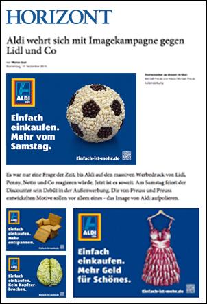 Artikel im Horizont - Aldi Süd Kampagne 2015