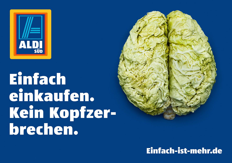 Motiv Gehirn aus Wirsing - Kein Kopfzerbrechen - Kampagne Einfach Einkaufen - Aldi Süd