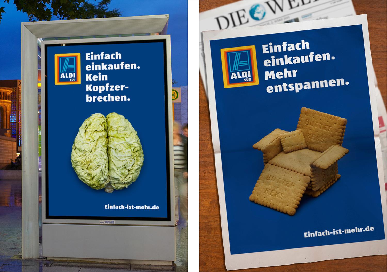 Motive im Umfeld - Kampagne Einfach Einkaufen - Aldi Süd