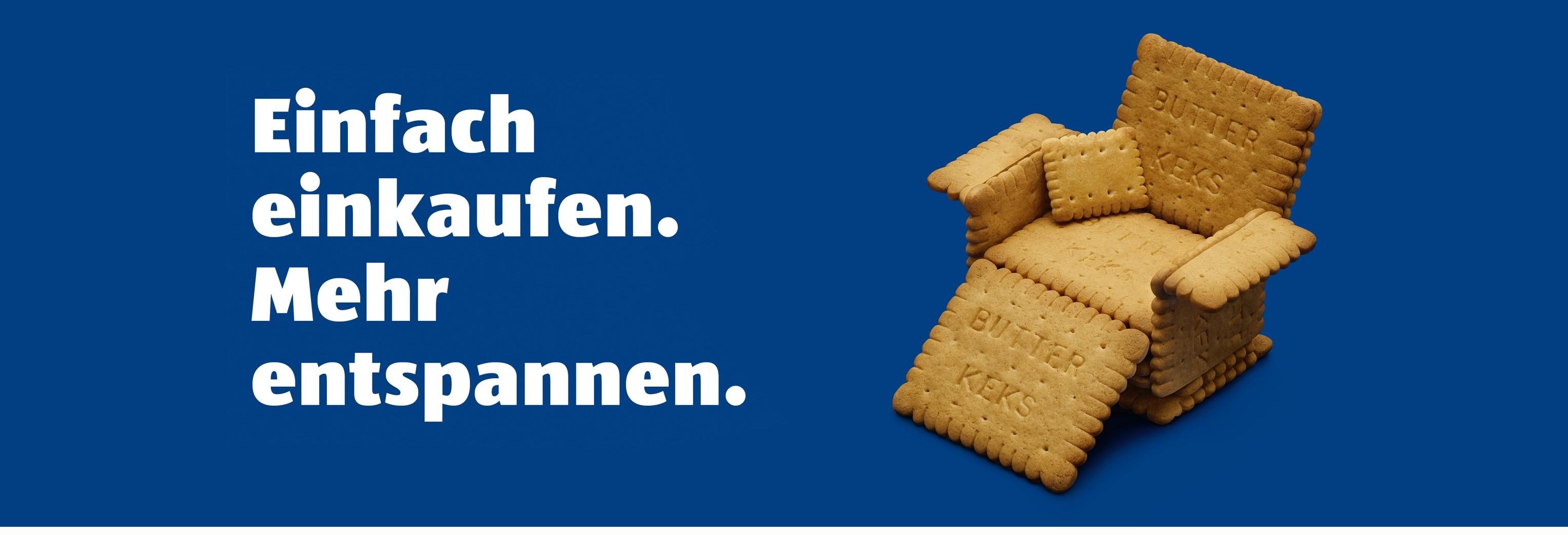 Motiv Sessel aus Kekse - Mehr entspannen - Kampagne Einfach Einkaufen - Aldi Süd - Headerbild