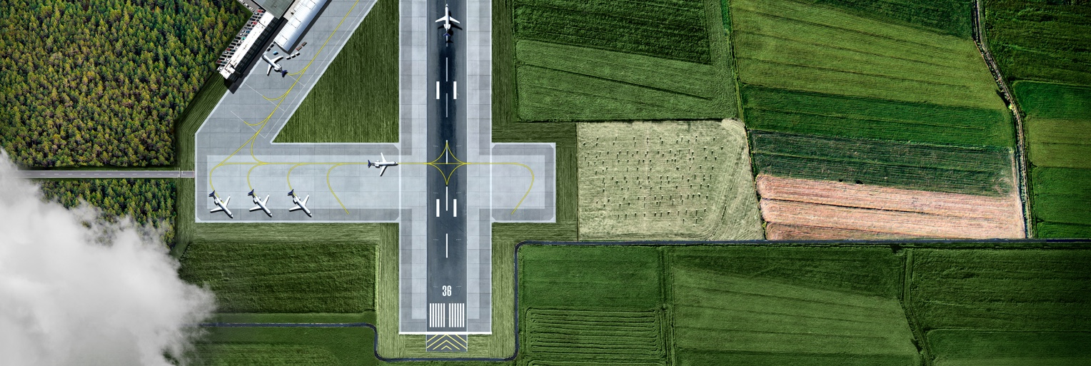 Eine Landebahn im Form von einer Nummer Vier - BDL - Bundesverband der Deutschen Luftverkehrswirtschaft  Die Vier Liter Flieger Kampagne - Headerbild