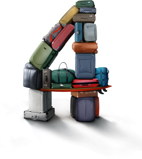 Eine Vier aus Koffern