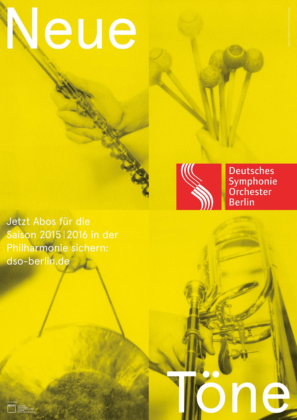 Neue Töne - Aboplakat des Deutschen Symphonie Orchesters Berlin - Saison 2015-2016 - Gelb