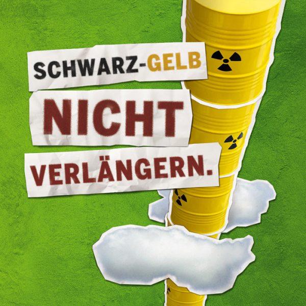 Beitragsbild - Schwarz-Gelb nicht verängern - Stapel Atomtonnen im Himmel