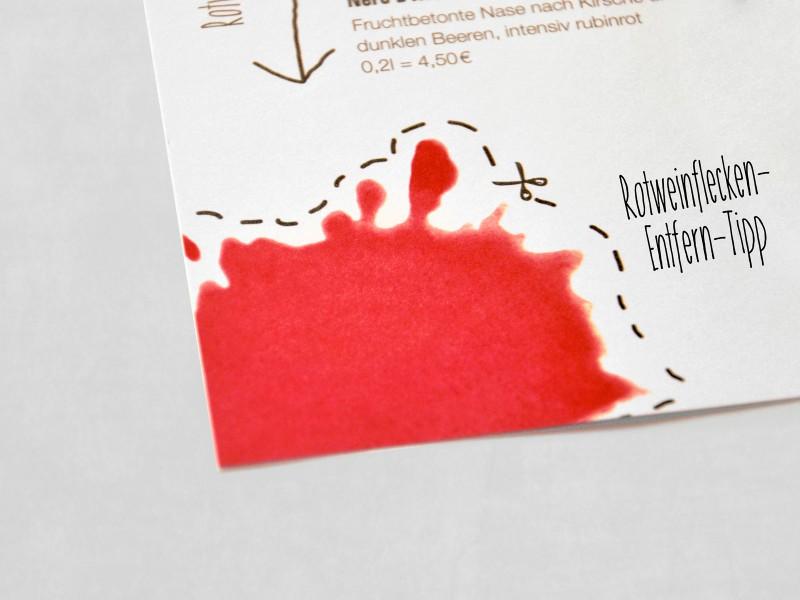 Spreegold Branding Sonstiges Rotweinfleck Speisekarte Entfern-Tipp