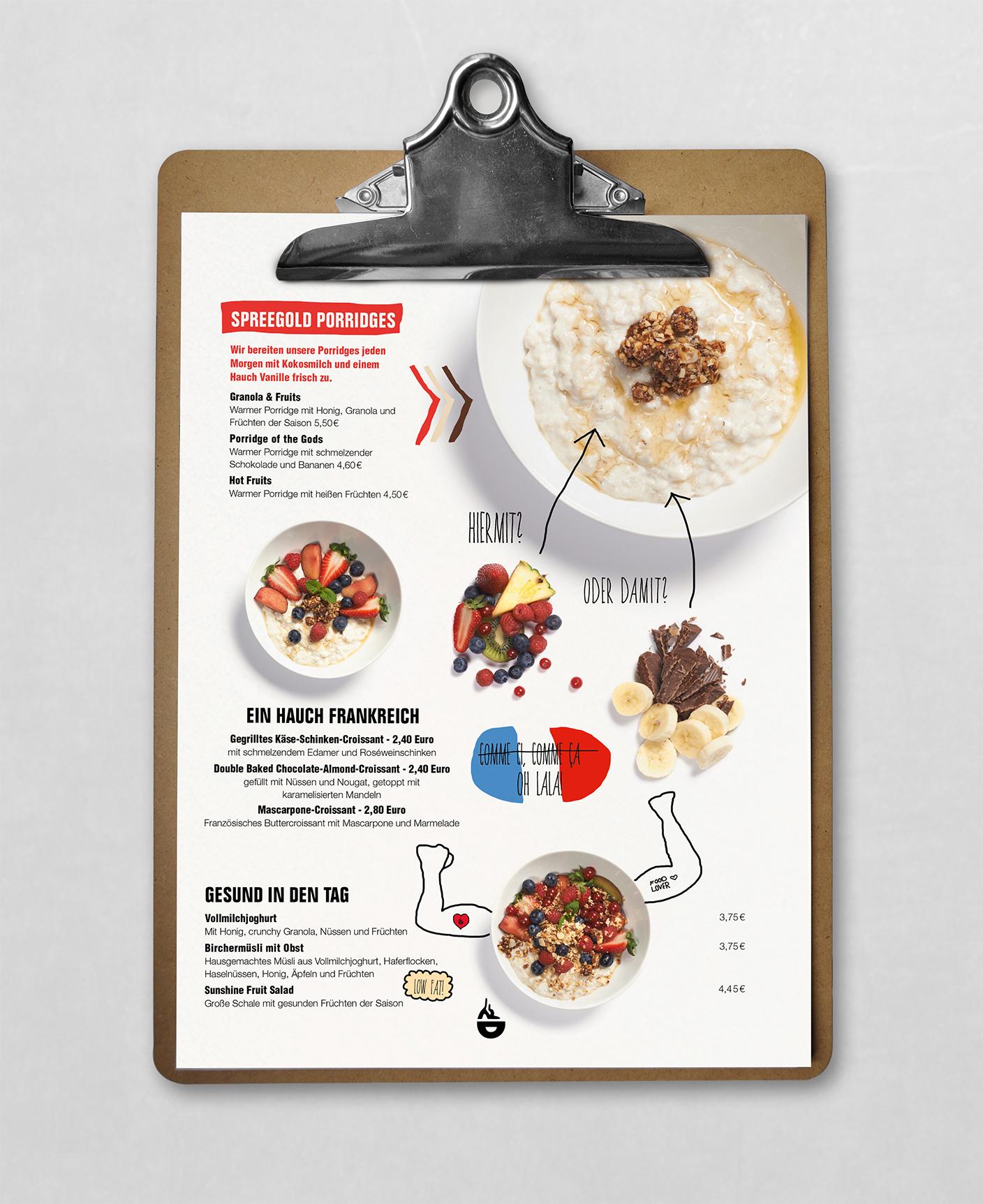 Spreegold Branding Speisekarte Porridge