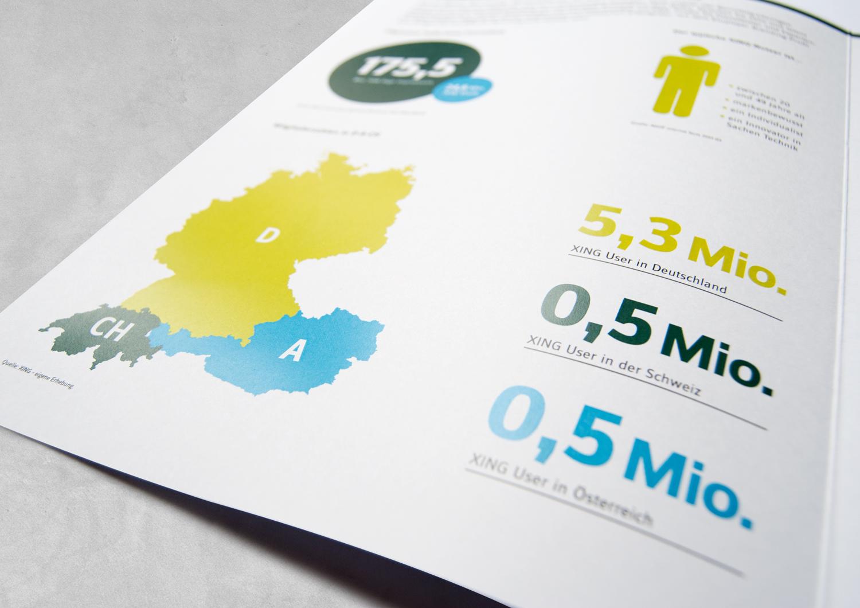 Zahlen und Infografiken in einer der XING Broschüren