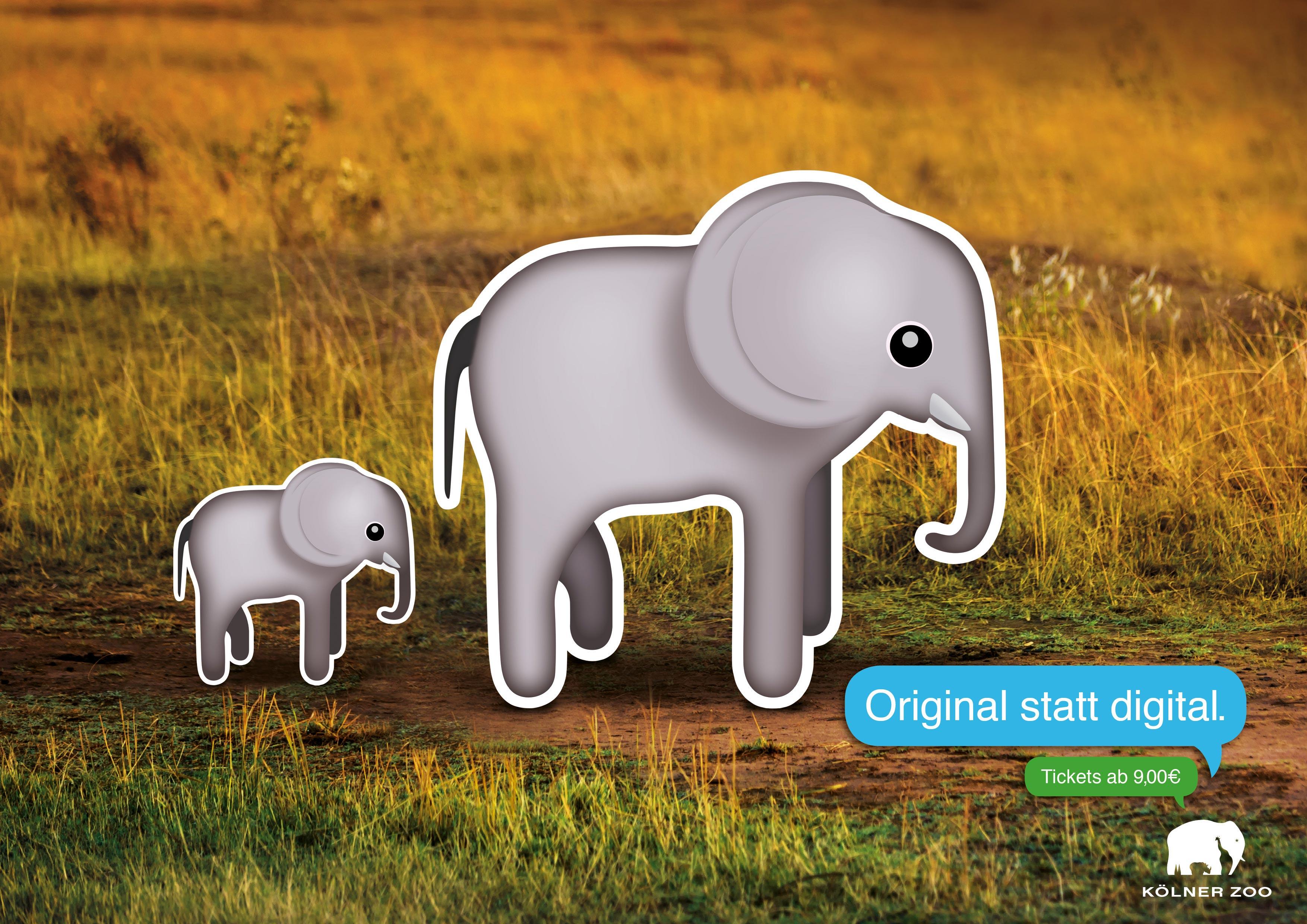 Elefanten-Emoticons im echten Umfeld