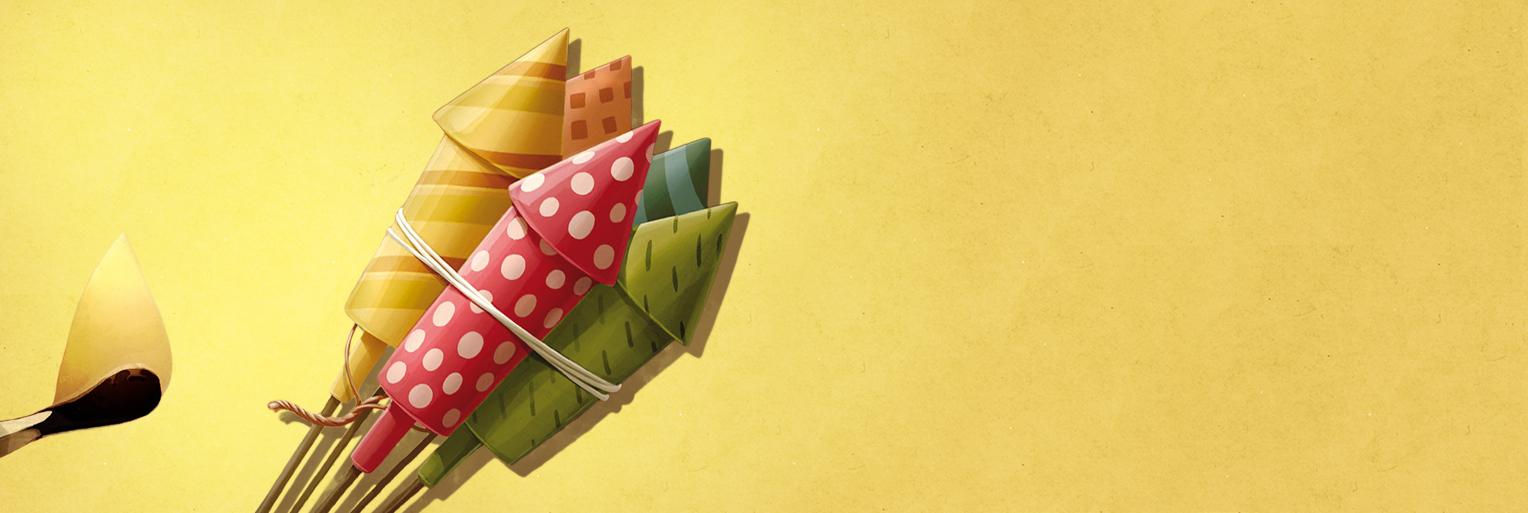 Illustration: Feuerwerk auf gelbem Hintergrund - Headerbild