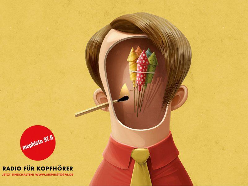Illustration: Feuerwerk in einem Kopf