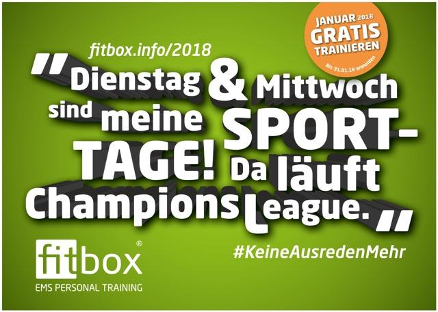 Dienstag & Mittwoch sind meine Sport-Tage! Da läuft Champios League. - Plakatmotiv